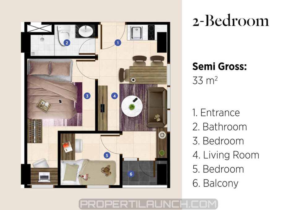 Tipe 2 Bedroom Apartment SEGAR
