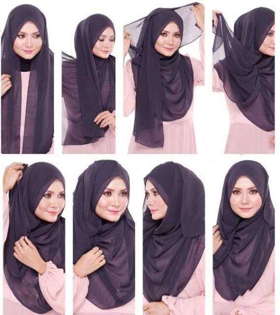 Jilbab segi empat simpel modis terbaru
