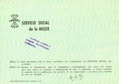 Sección Femenina. Servicio Social. Cartilla verde (reverso)
