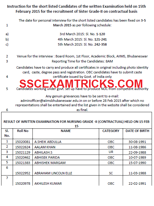 AIIMS INTERVIEW SCHEDULE 2015