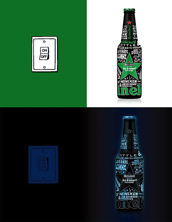 Heineken X Ed Banger Records bottle in light and dark on if it's hip, it's here