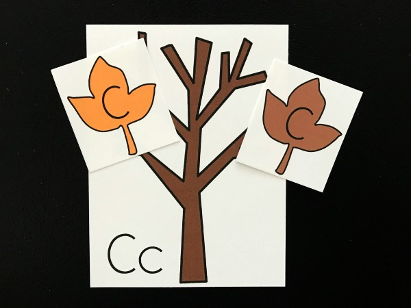 fall center idea to help kids practice alphabet letters