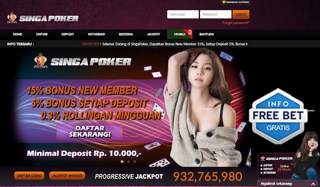 freebet bonus deposit dari singapoker sebesar 15% khusus member baru