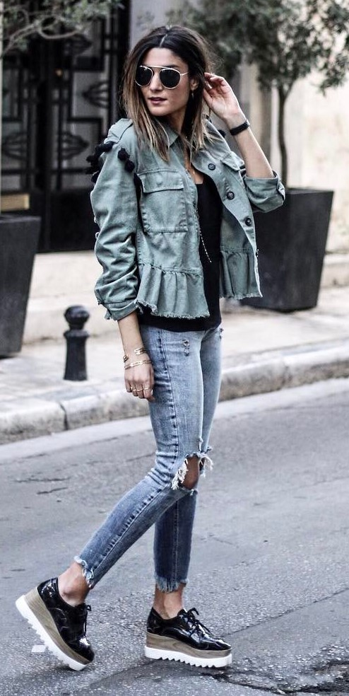 outfit of the day: denim jacket + top + rips