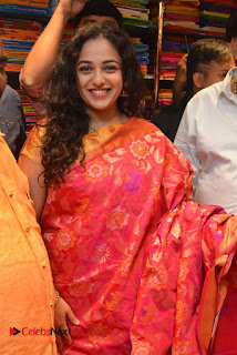 Actress Nithya Menen Pictures in Silk Saree at Kalamandir 25th Store Launch  0008