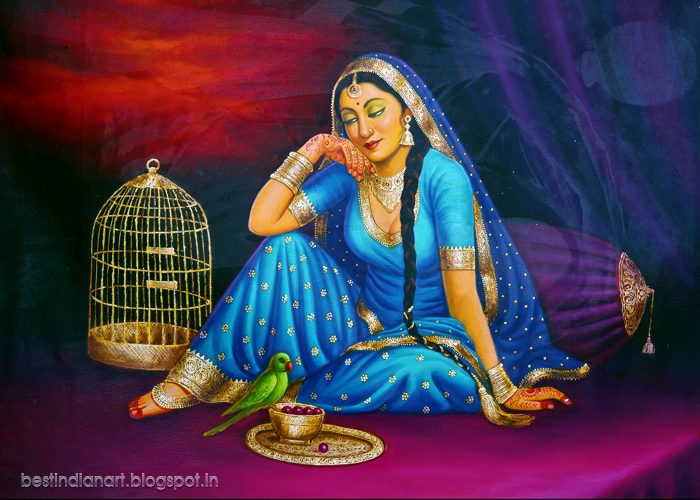 Punjabi Cute Girl Wallpaper Indian Lady In Blue Blouse And Skirt With Her Parrot Cute