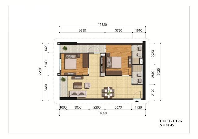 Mặt bằng căn hộ D - CT2A chung cư Gelexia Riverside