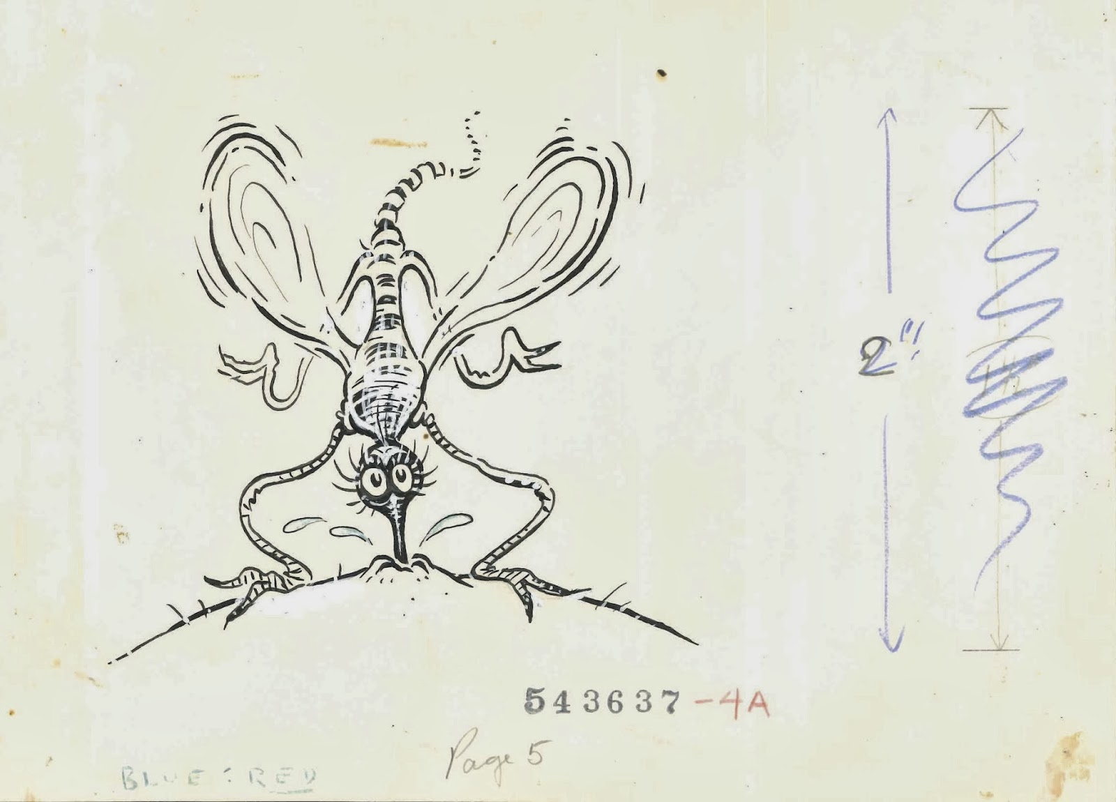A Geisel illustration of a mosquito drinking from someone's skin.