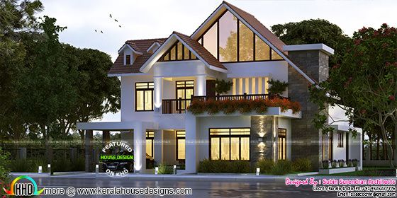 European style sloping roof 4 bhk house