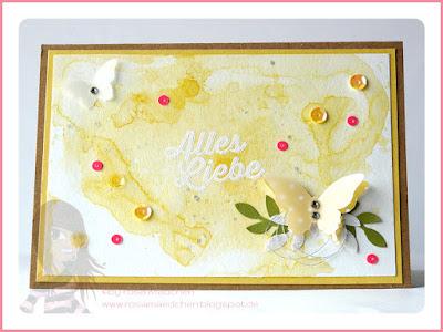 Stampin' Up! rosa Mädchen Kulmbach: Glückwunschkarte in Aquarelltechnik mit Paarweise, Mini-Schmetterling und Elegantem Schmetterling