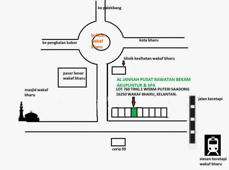 peta lokasi kedai bekam al-Jannah
