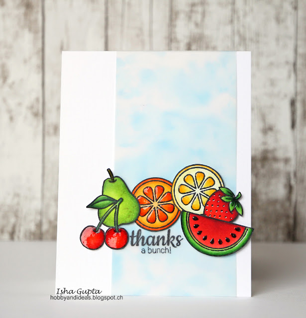Sunny Studio Stamps: Fresh & Fruity Thanks A Bunch Fruit Themed Thank You Card by Isha Gupta.