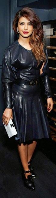Priyanka Chopra in Kinky Black Leather Dress