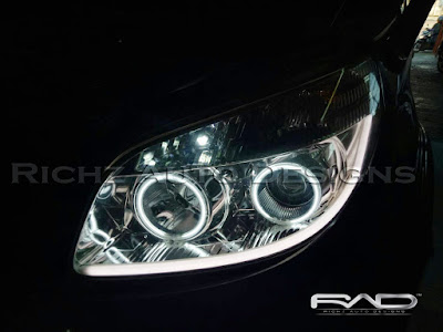 custom headlamp toyota rush 2009 dengan angel eyes dan drl line