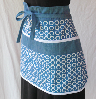 bistro apron, blue and white