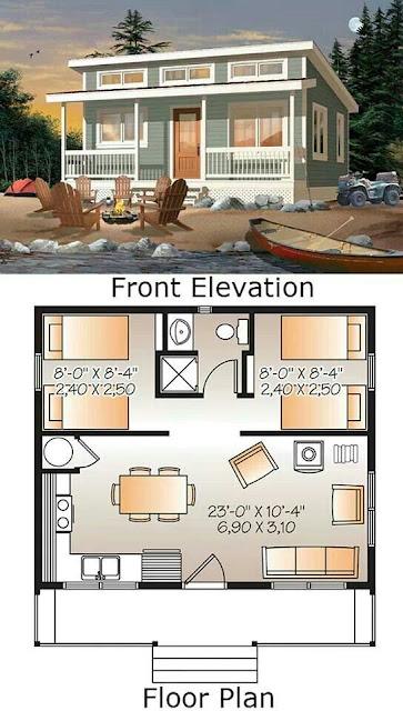 แบบบ้านชั้นเดียวสองห้องนอน + แปลน