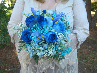 Blue Wedding Bridal Bouquet by Stein Your Florist Co.