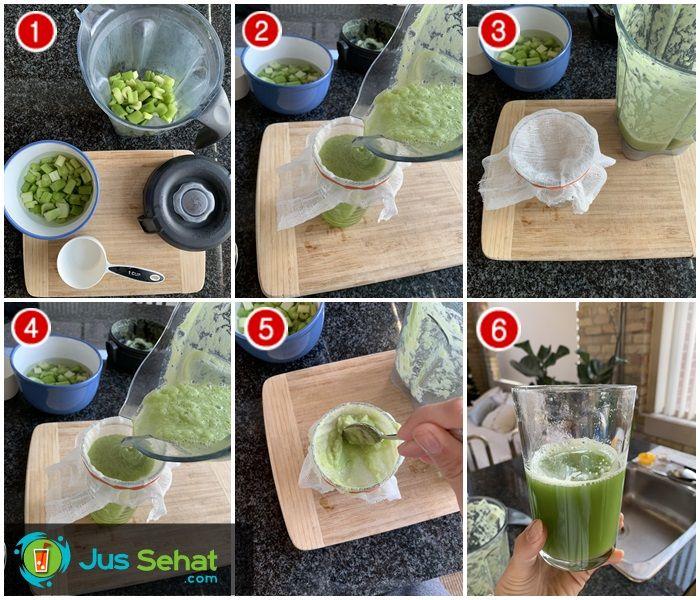 Langkah-langkah membuat jus seledri memakai blender