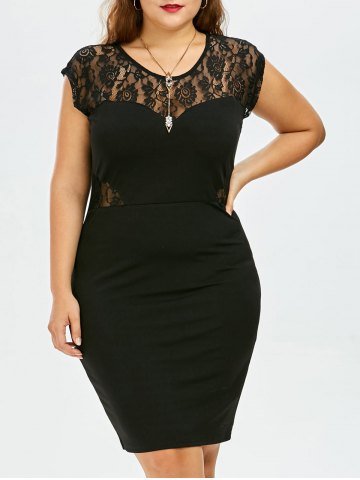 Plus Size Cap Sleeve Lace Trim Dress - Black