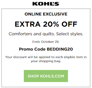 Kohls coupon 20% off bedding oct 2016
