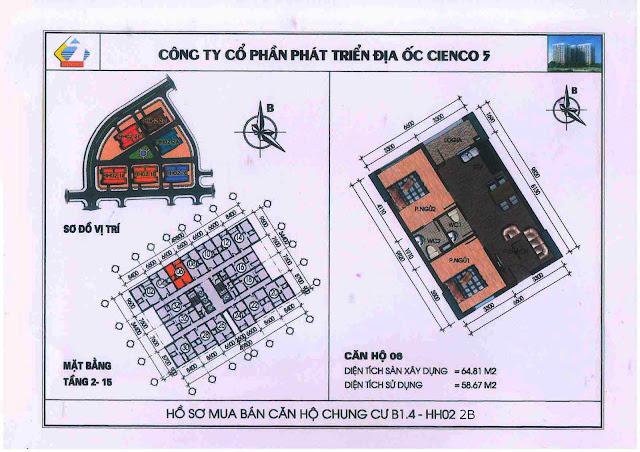 Thiết kế căn hộ B1.4 căn 06 Cienco 5