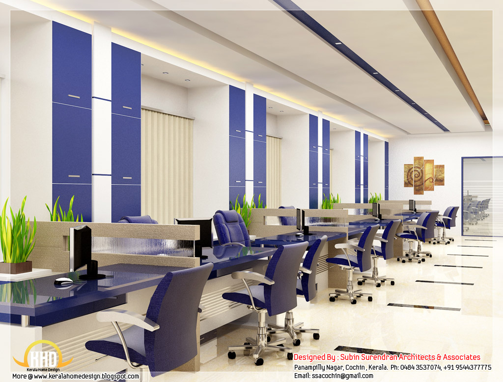 Beautiful 3d interior office designs kerala home design for Office design 1000 square feet