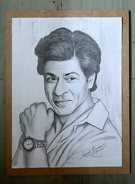 Venkat Shyam N - Sharukh Khan Portrait Sketch Art Painting in Hyderabad