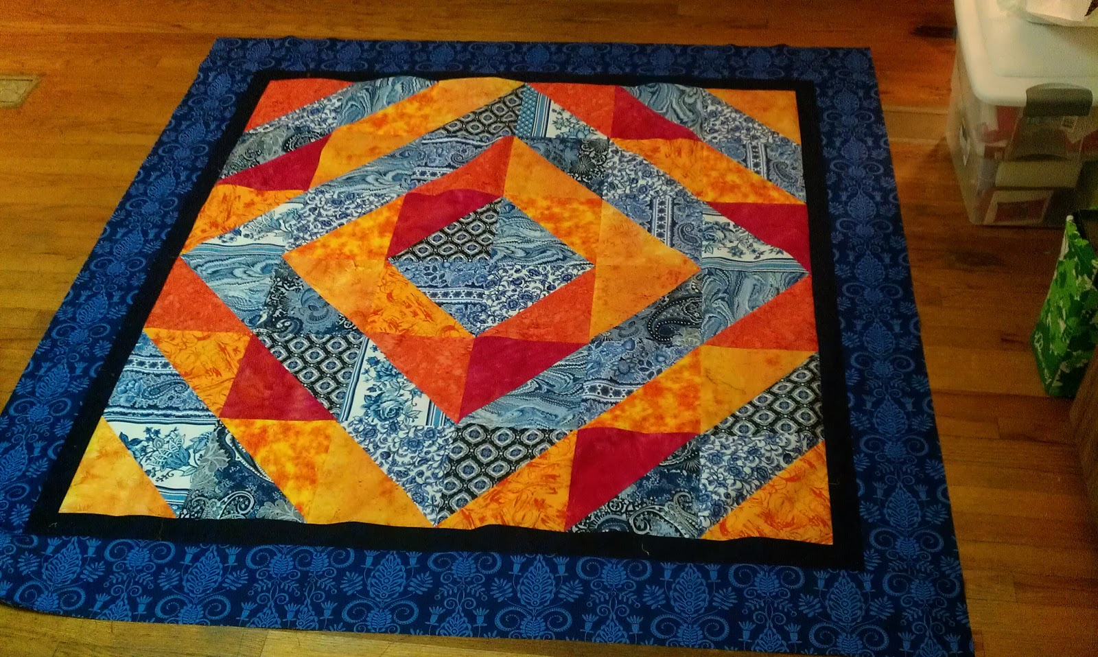 Well The Quilt Top Anyway Once I Got It All Together Blue Became Dominant Force And Orange Is Just That Kick F Color