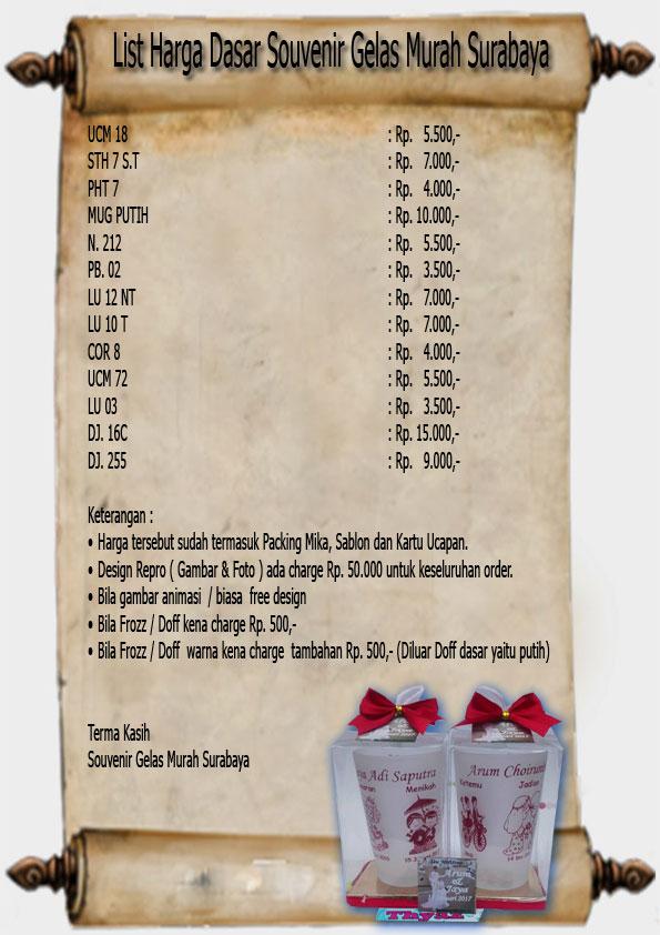 List Harga Souvenir Gelas Murah Surabaya