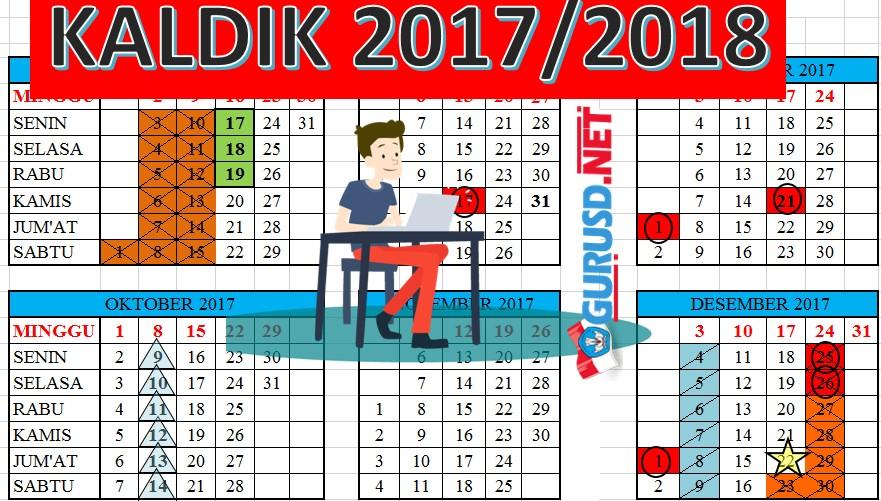 Kalender Pendidikan 2017 2018 Lengkap Dengan Hari Efektif Guru Sekolah Dasar