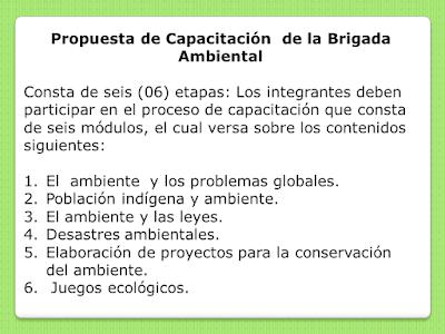 Módulo de capacitación de la Brigada Ambiental