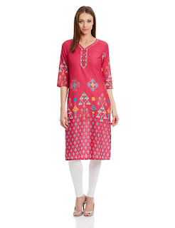 Aurelia Three Qarter Sleeve V-Neck Cotton Pink Kurta from fashiondiya