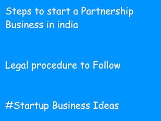 Partnership business india