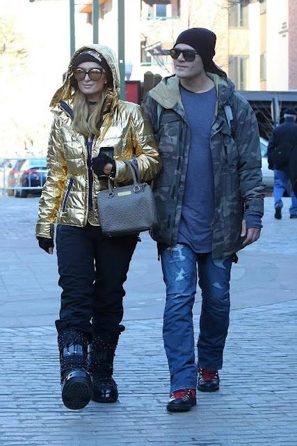 Paris Hilton and Chris Zylka Stroll Photos in Aspen