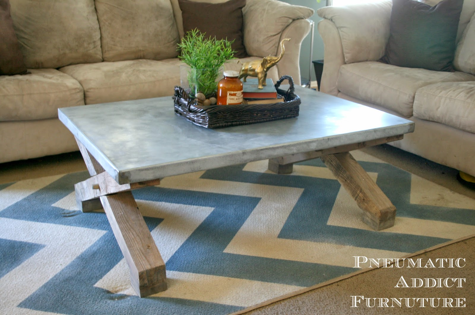 Zinc Top Coffee Table Tutorial: Pottery Barn Knock Off | Pneumatic Addict