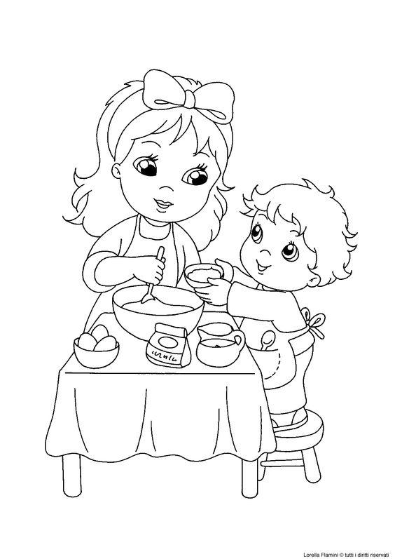Tranh tô màu bé vào bếp cùng mẹ