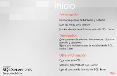 instalación de SQL Server 2005