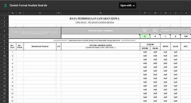 Format Analisis Soal Essay dan PG Excel [xls]