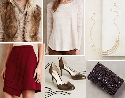 Holiday Fashion Style Outfit Ideas. Styling Night - Anthropologie Artio Faux-Fur Vest Feathered Lace Pullover Layered Wrap Skirt Guilhermina Scalloped D'Orsay Heels Elizabeth and James Livi Necklace Starcluster Clutch