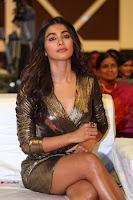 Pooja Hegde looks glamarous in deep neck sleevless short tight golden gown at Duvvada Jagannadham thank you meet function 144.JPG