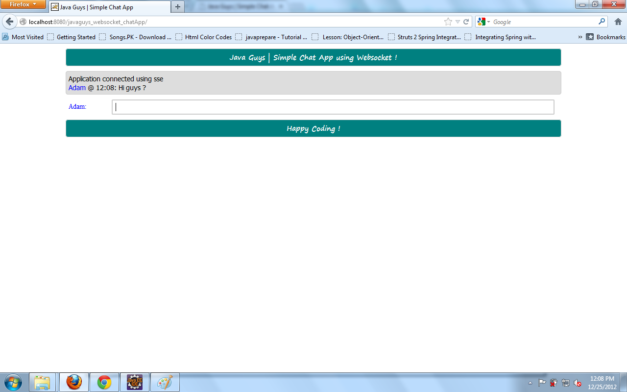WebSocket with Java (Simple HelloWorld ChatApp using