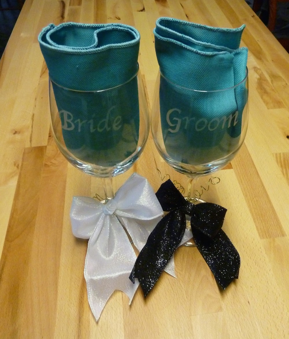 bride and groom etched wine glasses