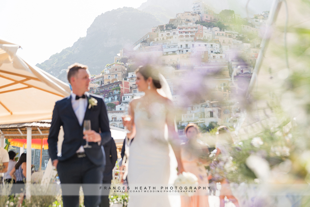 Positano bride and groom on Marina grande beach