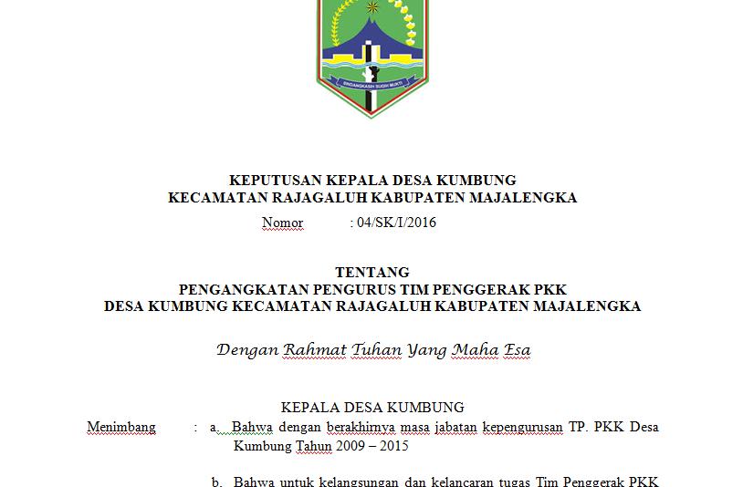 Contoh Surat Keputusan Sk Kepala Desa Untuk Tim Penggerak