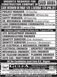 Job opportunities in a Construction Company Saudi Arabia