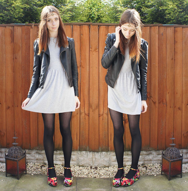 Primark smock dress, faux leather jacket and floral platforms