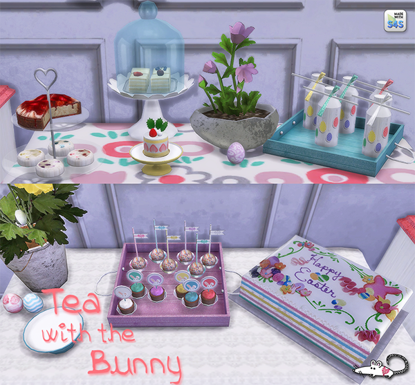 My Sims 4 Blog: Tea With The Bunny Decor Set By LoveratSims4