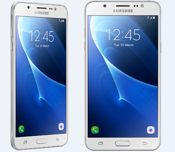 Samsung Galaxy J7 smartphone front and rear view.