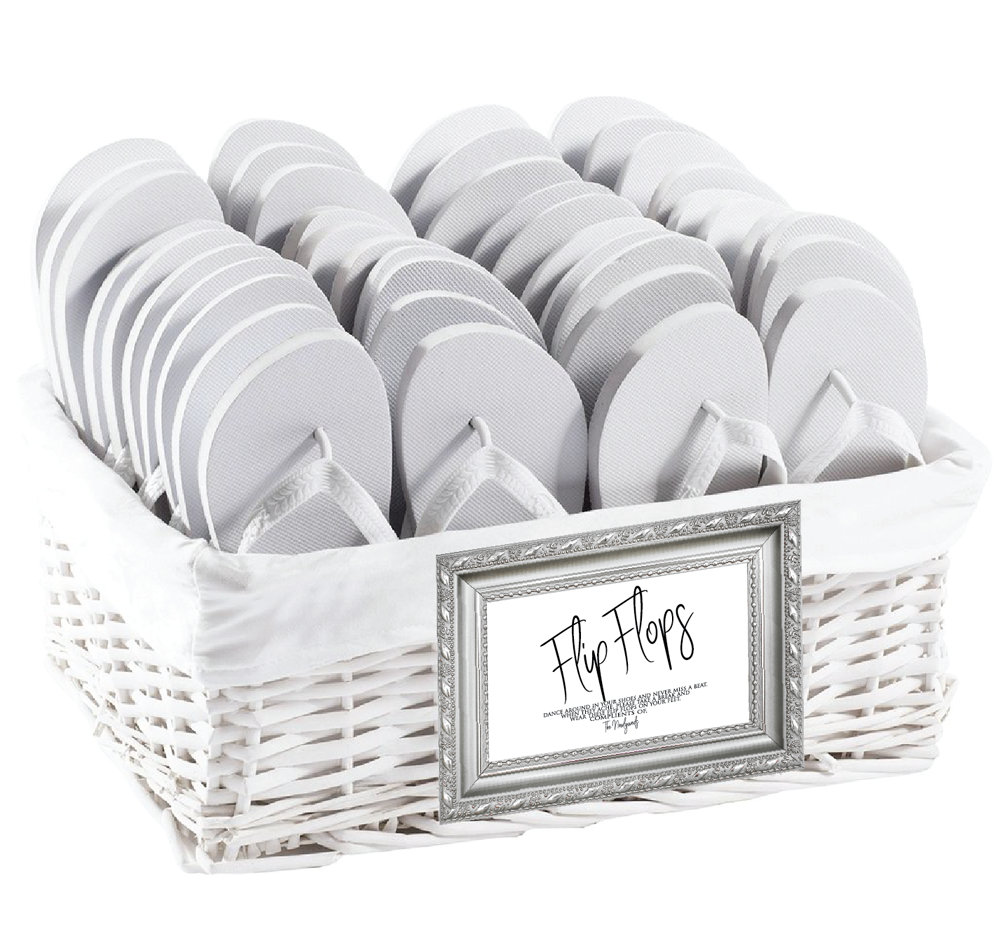 85d7d0bc71034a Let your wedding guests dance on the dance floor comfortably with wedding flip  flops. Direct your guests to the wicker basket filled with wedding flip  flops ...