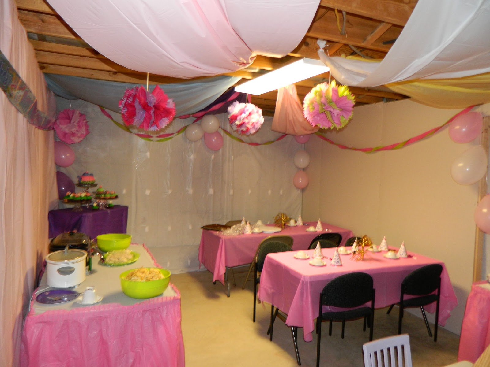 We Used Plastic Tablecloths To Hide The Ugly Gray Concrete Walls Beams Above Our Heads Also Took And Swagged Them